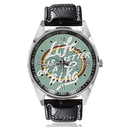 Life is Better On A Bike Damen Gürtel Uhr Einfacher Klassischer Stil Sportuhr Entworfen für Frauen Einfach und Mode