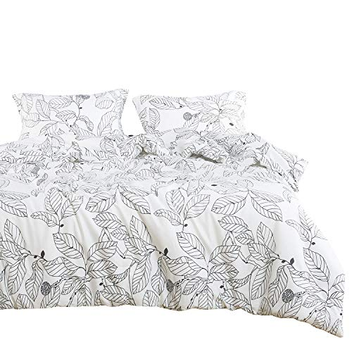 Wake In Cloud - Tree Duvet Cover Set, 100% Cotton Bedding, Black Branches Leaves Pattern Printed on White, with Zipper Closure (3pcs, King Size)