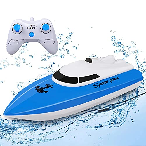 STOTOY Barca Telecomandata, per Piscine e Laghi, Mini Motoscafo Elettrico 2.4G Hz per Bambini e Adulti, Barca Radiocomandata Giocattoli Bambino 6+ Anni Regali per Bambini (Barca Telecomandata)