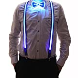 2 Pcs/Set, Good Quality Light Up LED Suspenders And Bow Tie, Perfect For Music Festival Halloween Costume Party (Blue)