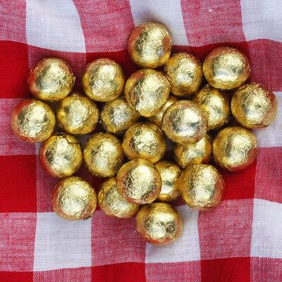 FLAIRELLE, Vollmilch goldene Schokokugeln in Folie, Gold, 100 Stück, 110 Stück (500g) zarte Bonbon Kugeln, Schokoperlen Hochzeit oder als Gastgeschenke, Give Aways, Weihnachts-Schokolade,