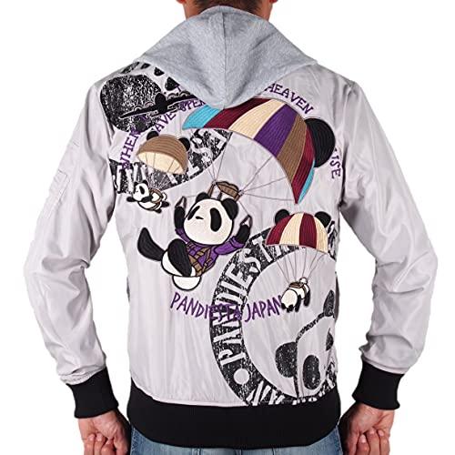 PANDIESTA JAPAN(パンディエスタジャパン) MA-1フライトジャケット〔熊猫空挺部隊 パンダ ワッペン 刺繍 パーカー脱着可能 561204〕グレー ライトグレー アメカジ ミリタリー バイカー 和柄 2021-22年秋冬 (L)