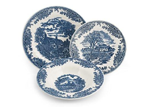 Churchill Servicio 18Piezas Platos, decoro brookblue, Earthware, Blanco/Azul