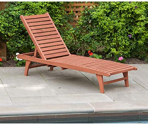 Best Leisure Season CL7111 Chaise Lounge with Pull-Out Tray - Brown - 1 Piece - Wooden Reclining Outdoor