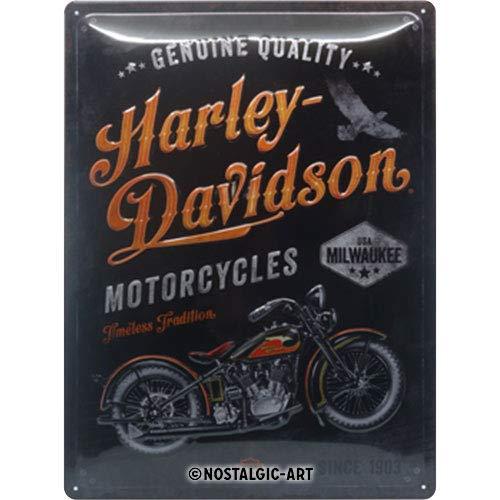 Nostalgic-Art Harley-Davidson – Timeless Tradition – Geschenk-Idee für Motorrad-Fans, Retro Blechschild, aus Metall, Vintage-Dekoration, 30 x 40 cm