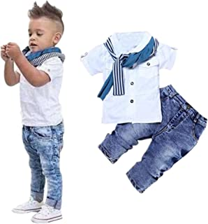 Infant Newborn Baby Boys Romper Bodysuits Cotton Cute Short Sleeve T-Shirt Tops+Scarf+Trousers Clothes Outfits Clothes