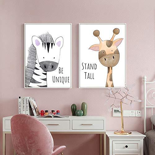 KWzEQ Peinture sans Cadre bébé Chambre d'enfant décoration Girafe Lion Crocodile zèbre Hippopotame Mur artAY7202 30X45 cmx2