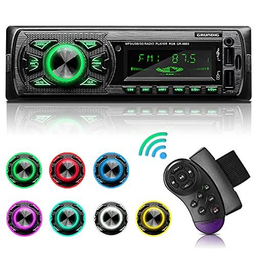 GRUNDIG Autoradio mit Bluetooth Freisprecheinrichtung, 7 Farben Licht Einstellbar 1 Din Autoradio Bluetooth mit 2 USB Anschluss/AUX/TF/MP3 Player/FM Autoradio Radio mit Bass