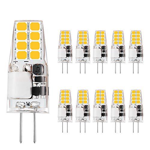 VINBE G4 LED Lampen,3 W, entspricht 35 W Halogen lampen, 12 V AC/DC LED-Lampe, 350 Lumen, flackerfrei, nicht dimmbar, 360° Licht winkel, G4 Licht, Lampen mit Steck sockel, warmweiß (3000 K, 10 Packs)