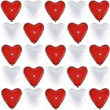 P&S events Herzluftballons Rot Weiß 50 Stück Premium Größe XL Ø 30cm für Helium und Luft geeignet Markenqualität Herz Luftballons für Party Hochzeit Herzballons Geburtstag schöne Herzen als Deko