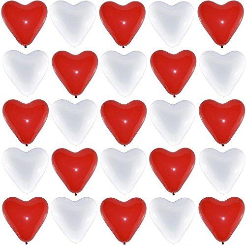 P&S events Premium Herzluftballons Rot Weiß Größe XL Ø 30cm 50 Stück für Helium und Luft geeignet Markenqualität Herz Luftballons für Party Hochzeit Herzballons zum Geburtstag