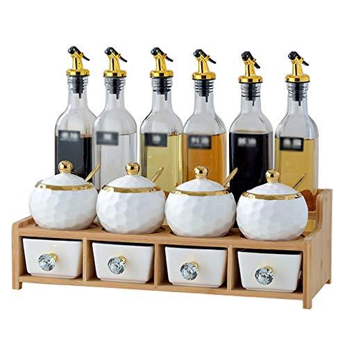 Caja para Condimentos Porcelana blanca condimento tarros y aceite Botellas de cristal Set con doble capa portante de madera, de contenedores con tapas y cucharas for Spice condimento salsa, de 14 piez