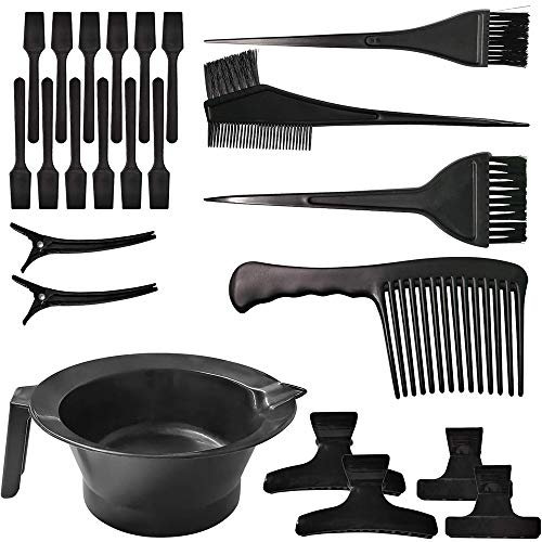 Hair Dye Kit Coloring DIY Hair Dyeing Tool Hair Tinting Bowl Dye Brush Comb Hair Clips Mixing Spatulas