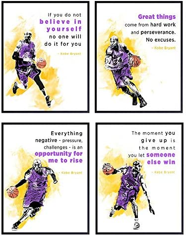 Kobe Bryant Positive Quotes Poster Set 8x10 Motivational Office Wall Decor Inspirational Gift product image