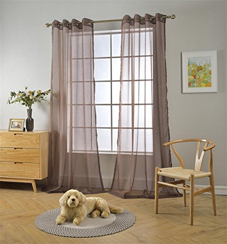 """MIUCO 2 Panels Grommet Textured Solid Sheer Curtains 63 Inches Long for Living Room (2 x 54 Wide x 63"""" Long) Chocolate Brown"""