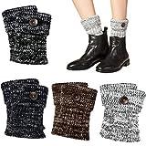 VBIGER Damen Beinwärmer kurze Stiefelsocken Winter Beinstulpen häkeln Stiefelstulpe Knopf