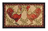 Kitchen Collection Rooster Beige Multi-Color Printed Slip Resistant Rubber Back Latex Contemporary Modern Runner Area Rug (9112) (18' x 30' Mat)
