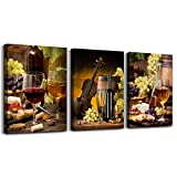 Canvas Wall Art for living room bathroom Wall Decor for bedroom kitchen artwork Canvas Prints Wine glass painting 12' x 16' 3 Pieces Modern framed office Home decorations family picture