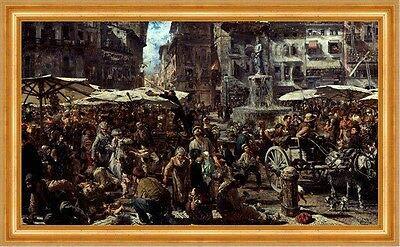 Kunstdruck Piazza d Erbe in Verona Adolph Menzel Italien Markt Brunnen B A3 00226 Gerahmt