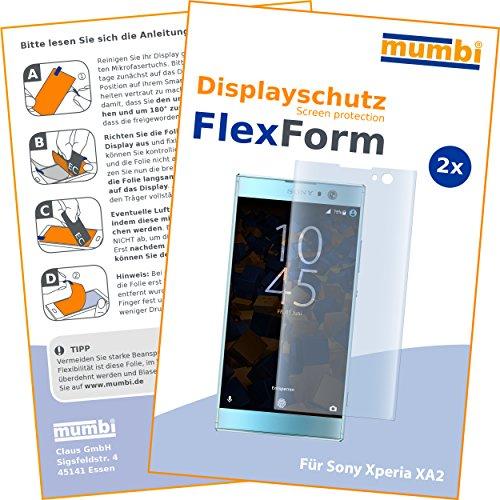 mumbi Flex Schutzfolie kompatibel mit Sony Xperia XA2 Folie, Bildschirmschutzfolie (2X)