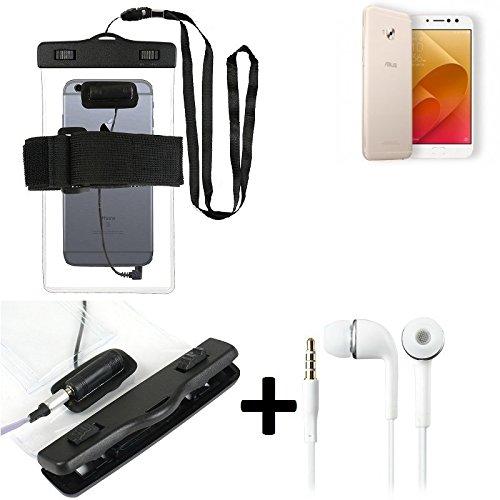 K-S-Trade Für Asus ZenFone 4 Selfie Pro wasserdichte Hülle mit Kopfhörereinlass + Headset, transparent Jogging Armband Wasserfeste Handyhülle Beach Bag Outdoor Beutel Schutzhülle Unterwasser case für