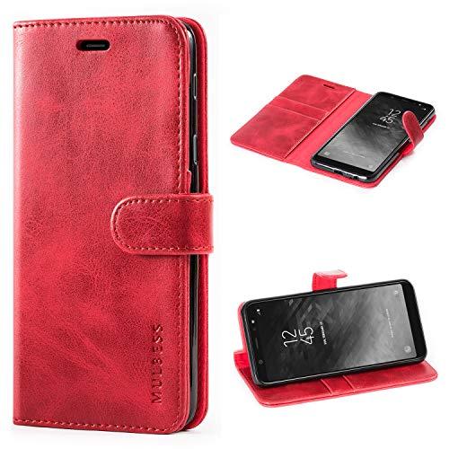 Mulbess Cover per Samsung Galaxy A6 Plus, Custodia Pelle con Magnetica per Samsung Galaxy A6 Plus / A6+ [Vinatge Case], Vino Rosso