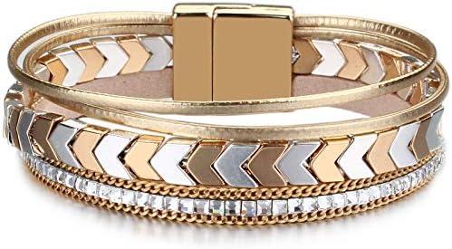 FANCY SHINY Hematite Leather Wrap Bracelets Beaded Healing Stone Cuff Bracelet Rhinestone Boho product image