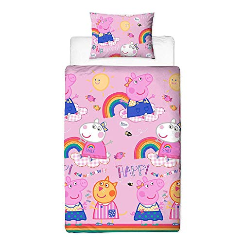 Peppa Pig Friends Single Pink Duvet Cover With Matching Pillow Case – Two Sided Reversible Hooray Rainbow Design, Microfibre