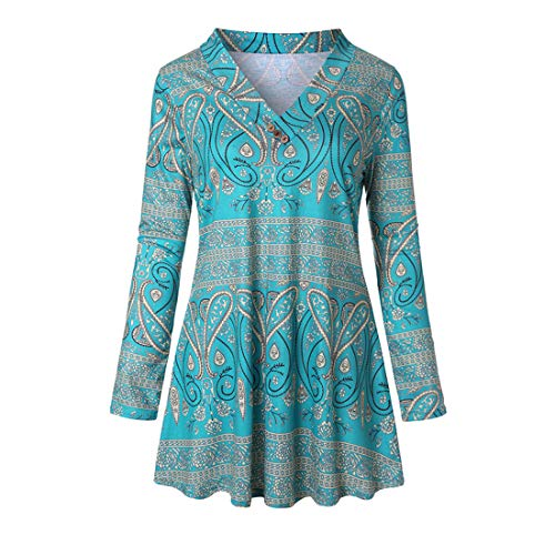 PAOMO Damen Bluse Hemdbluse Langrm Top Langarmshirt Oberteile Tunika Damen Shirt...