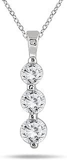 1 Carat TW Three Stone Diamond Pendant in 14K White Gold