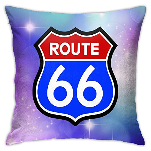 v-kook-v Route 66 Decorative Square Throw Pillow Covers Cushion Case Pillowcases 18 X 18 Inch