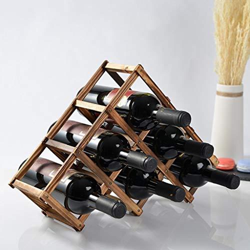 6 flaskor vinställ bänkskiva, naturlig furu trähylla för skafferi fristående triangel flaskställ, naturlig färg, 45 × 12 × 31 cm vinglasställ (färg: A)