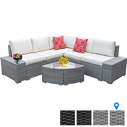 6 Pieces Outdoor Patio Furniture Set, Wicker Rattan Patio Furniture Sofa Outdoor Patio Rattan Wicker Sofa With Glass Coffee Table And Comfortable Cotton Cushions Outdoor Furniture Patio Set (Gray)