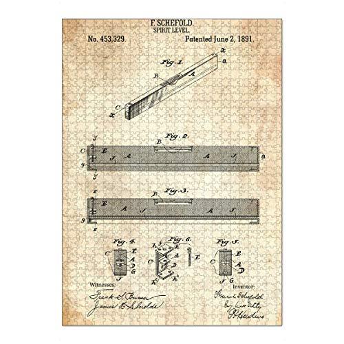 artboxONE Ravensburger-Puzzle XL (1000 Teile) Für Papa Wasserwaage Patent (Antik) - Puzzle zimmerei Werkzeug patent
