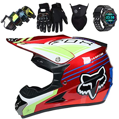 Casco Motocross Niños, JMY-01 Casco MTB Integrales con Diseño FOX, Set de...