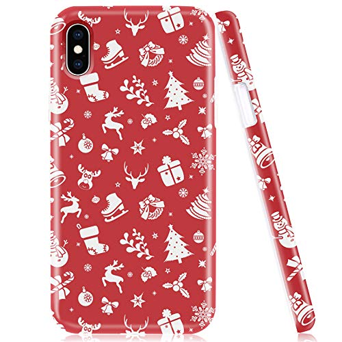 iPhone X Case, iPhone Xs Phone Case, Protective Cover for Apple X/XS, Soft Silicone Shell with Red Xmas Presents Trees Elks Patterns Design for Women Girls Kids