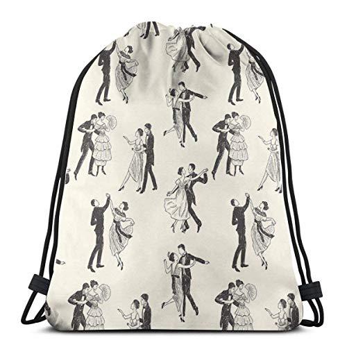 "Yuanmeiju Ballroom Dancing 3D Print Mochila con cordón Rucksack Shoulder Bags Bolsa de Gimnasio For Adult 16.9""X14"""