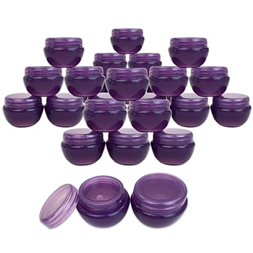 Beauticom 24 Pieces 10G/10ML Purple Frosted Container Jars with Inner Liner for Lotion, Toners, Lip Balm, Makeup Samples - BPA Free