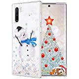 Maxdara Christmas Case for Galaxy Note 10, Merry Christmas Snowman Pattern Glitter Liquid Bling Sparkle Cute Case for Girls Children Women Gifts Christmas Case for Galaxy Note 10 6.3 inches(Snowman)