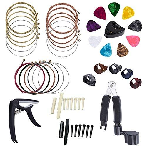 Wnuanjun 34 PCS Kit de Accesorios de Guitarra Que Incluye selecciones de Guitarra, Capo, Cuerdas de Guitarra acústica, 3 en Volante 1 en 1string, Pines, 6 Cuerdas de Hueso (Color : Multicolor)
