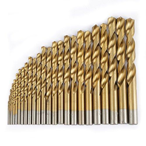 25 brocas de acero de alta velocidad de 1 mm-13 mm, vástago recto (oro)