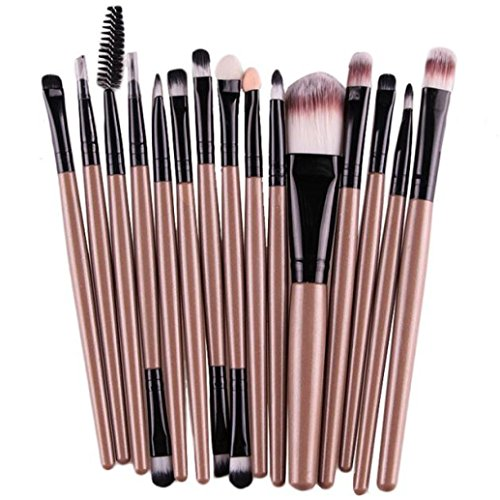 Euone 15 pcs/Sets Eye Shadow Foundation Eyebrow Lip Brush Makeup Brushes Tool (Gold)
