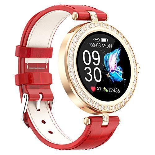 FMSBSC Reloj Inteligente para Mujeres, Smartwatch Pulsómetros IP67 A Prueba De Agua Reloj Digital con Step Calories Monitor De Sueño, Reloj De Fitness con iOS Android,Rojo