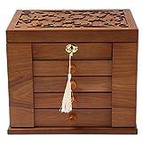 Changsuo Jewelry Box Organizer with Lock for Women Lockable Large Dresser Top Wooden Jewelry Storage...