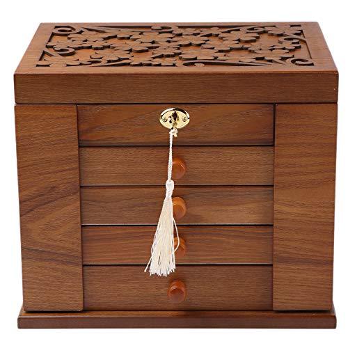 Changsuo Jewelry Box Organizer with Lock for Women Lockable Large Dresser Top Wooden Jewelry Storage Box (Cherry)