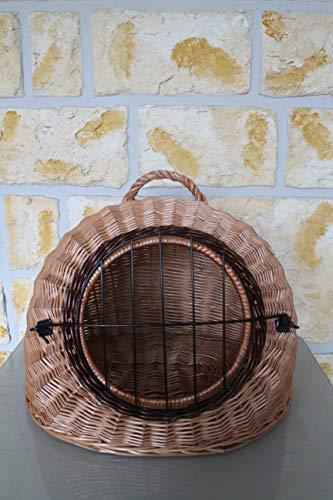Katzentransportkorb Katzenschlafplatz aus Weide mit Metallgitter und Kissen L XL XXL Transportkorb Transportbox für Hunde oder Katzen (L=46x42x40cm)