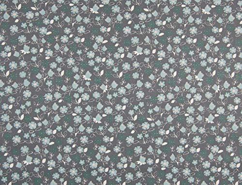 Qualitativ hochwertiger Baumwollstoff, Blumen Mint/Grau zum Nähen von Damen - und Kinderkleidung, 50 cm