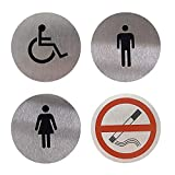 FGC Señales Adhesivos para Baño y Toilette, en Aluminio, Set 4 Carteles Autoadhesivos Para Aseo: Mujeres + Hombres + Discapacitados + Prohibición de Fumar, Diámetro De 67 mm
