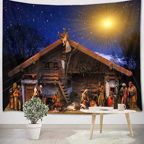 LB Natividad de Jesus Tapiz Navidad Tapiz Pared Cristiano,Reyes Magos,Estrella de Belén Tapiz Colgar Pared para...