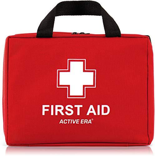 Erste Hilfe Set - 220-teiliges Premium Erste-Hilfe-Set - CE-Zertifiziert - enthält Sofort Kühlpacks,CPR Maske, Augenspülung, Rettungsdecke für zu Hause, Büro oder Auto - Rot